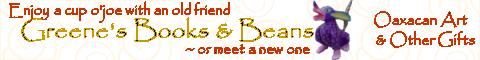 Banner ad for Greenes Books and Beans 140 Bank Street New London CT